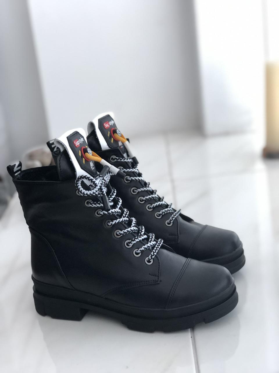 Женские зимние ботинки кожа 7060ч 36 37 38 39 41