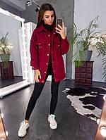 Фактурное  бордовое пальто на крупных кнопках с карманами, фото 1