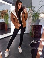 Вельветовая куртка цвета ржавчины с искусственным мехом, фото 1