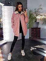 Удлиненная вельветовая куртка розового цвета с искусственным мехом, фото 1