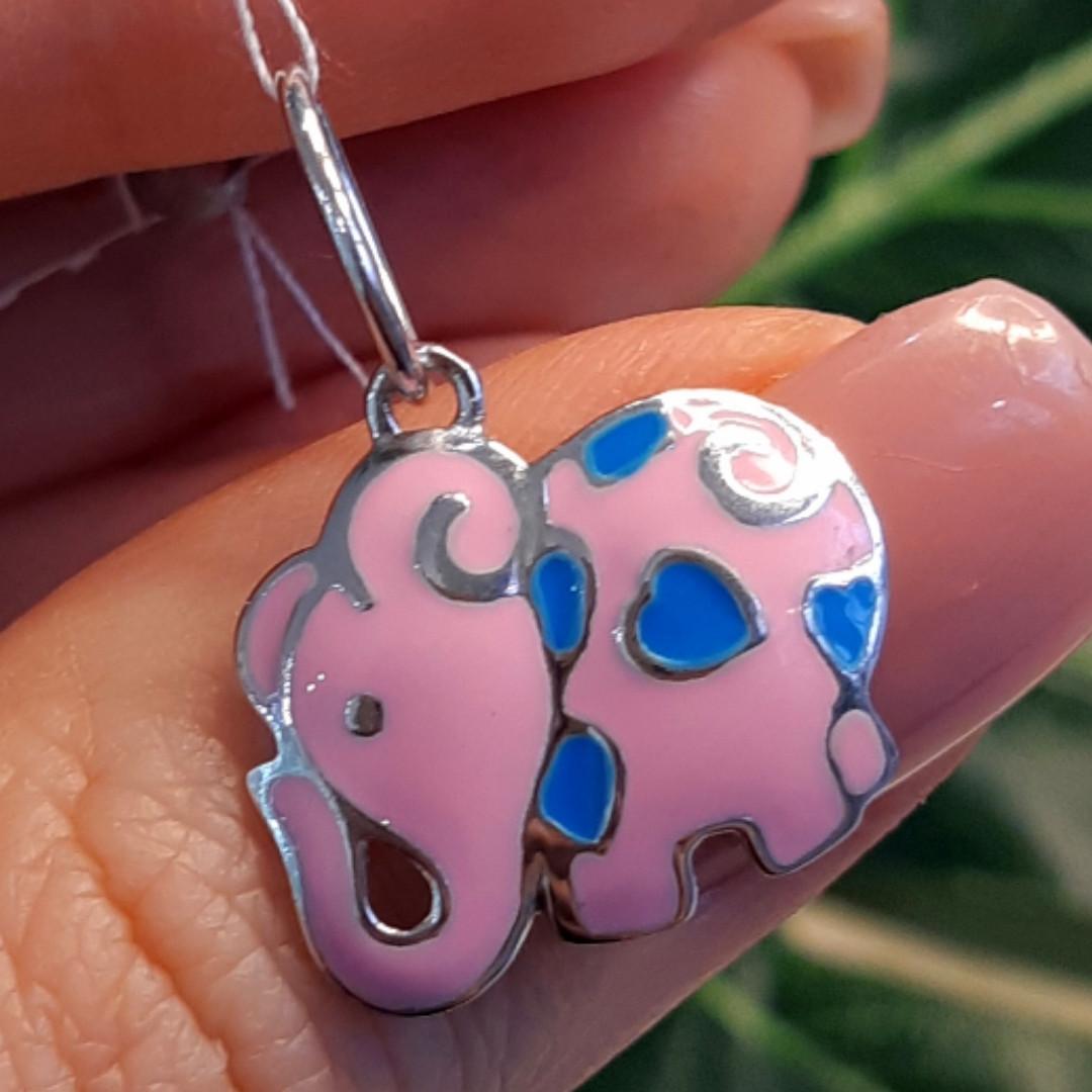 Розовый Слон серебряный кулон - Кулон Слоник серебро