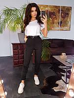 Комплект: Облегающие брюки карго черного цвета с белой футболкой, фото 1