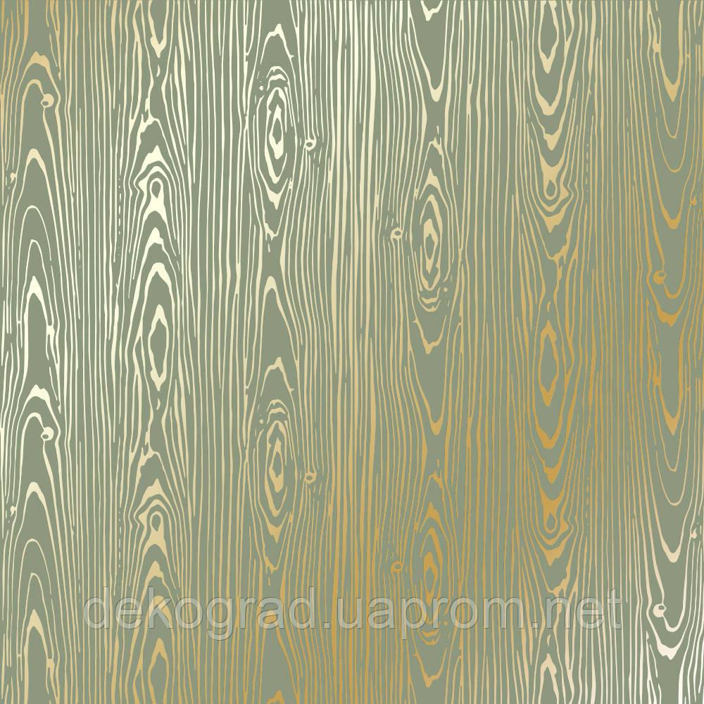Лист односторонней бумаги с фольгированием Golden Wood Texture Olive 30,5х30,5 см