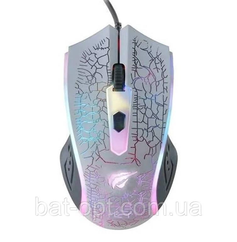 Мышь проводная игровая Havit HV-MS736 USB с подсветкой, белый