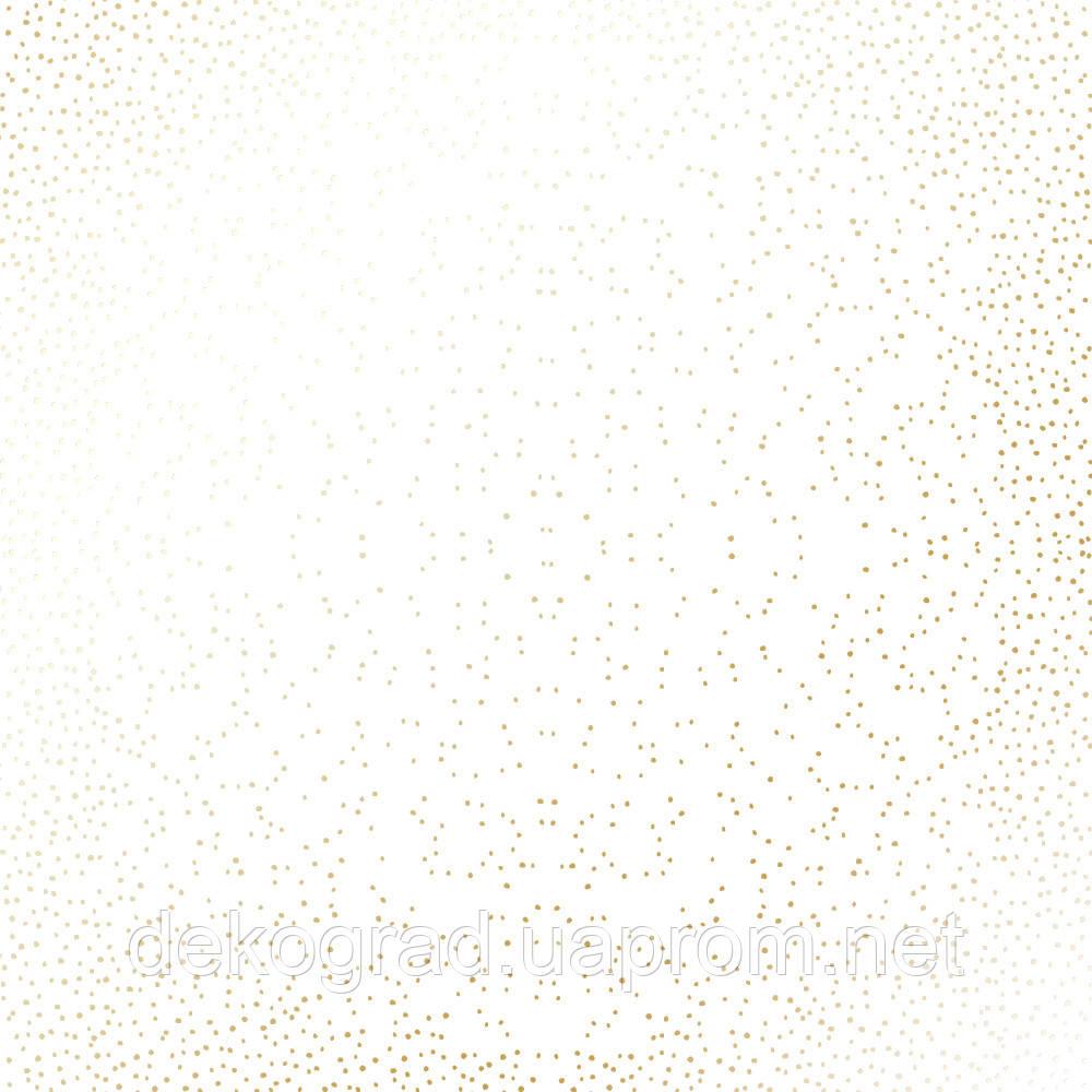 Лист односторонней бумаги с фольгированием Golden Mini Drops White 30,5х30,5 см
