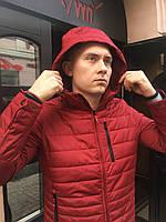 Мужская весенняя куртка ветровка парка молодежная короткая красная DSGdong