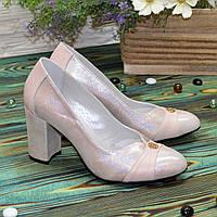 Туфли женские кожаные на высоком каблуке, цвет розовый сатин/пудра. 40 размер