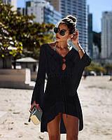 Туника пляжная женская черная ажурная вязаная, опт, фото 1