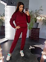 Теплый костюм бордового цвета с имитацией кармана спереди, фото 1