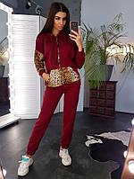 Теплый бордовый костюм с леопардовыми вставками, фото 1
