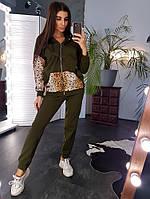 Теплый костюм цвета хаки с леопардовыми вставками, фото 1