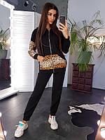 Теплый черный костюм с леопардовыми вставками