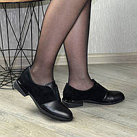 Туфли женские на маленьком каблуке, натуральная кожа и замша. 37 размер