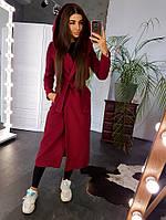 Бордовое кашемировое пальто с поясом и капюшоном, фото 1