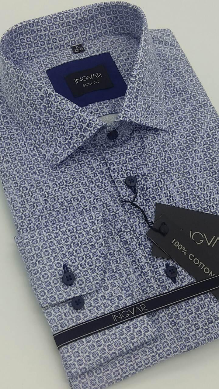 Рубашка мужская приталенная 100% хлопок  ТМ INGVAR