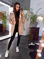 Удлиненная вельветовая куртка цвета верблюжьей шерсти с искусственным мехом, фото 1
