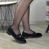 Туфли женские на маленьком каблуке, натуральная черная замша. 37 размер