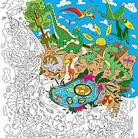 Плакат-раскраска Диноленд XL (тубус), Плакат-розмальовка Диноленд XL (тубус)