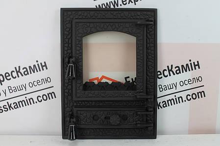 """Дверцы печные со стеклом """"BASTION"""" 370х510 Чугунные дверцы для печи кухни барбекю, фото 2"""