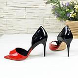 Женские лаковые босоножки на шпильке, цвет красный/черный. 39 размер, фото 5