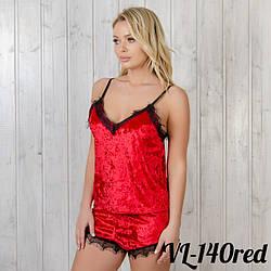 Пижама женская комплект: маечка и шорты New Fashion VL-140red | 1 шт.