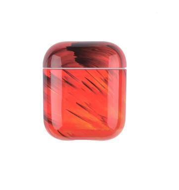 Силіконовий захисний чохол - Airpods Глянець. Червоно-оранжеві смуги