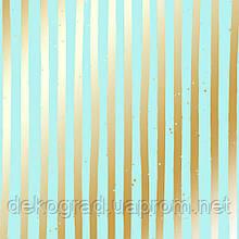 Лист односторонней бумаги с фольгированием Golden Stripes Turquoise 30,5х30,5 см
