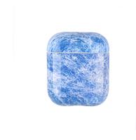 Силиконовый противоударный чехол - Airpods Глянец. Мрамор синий
