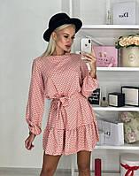 Платье в горошек розового цвета 42-46, 48-52 р.