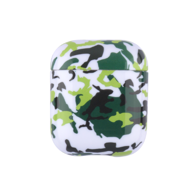 Силиконовый противоударный чехол - Airpods Глянец. Камуфляж белый с зеленым