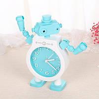Детские настольные часы-будильник Робот. Голубой, Дитячі настільні годинники-будильник Робот. Блакитний