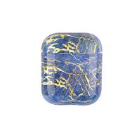Силіконовий захисний чохол - Airpods Глянець. Мармур синій з жовтим