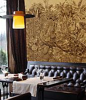 Золотые обои лакшери на стену дизайнерские Павлины Birds of Paradise 610 см х 280 см