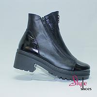 Женские ботинки демисезонные из натуральной черной кожи на 2-х молниях