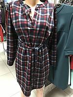 Платье-туника теплое в клетку демисезонное 46-48 размер