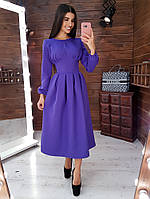 Сиреневое платье- миди с корсетной отделкой и юбкой в складку, фото 1