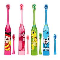 Детская электрическая зубная щетка! Щетка для чистки зубов на батарейках со сменными насадками!
