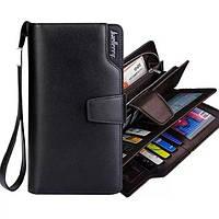 Стильный мужской кожаный клатч портмоне кошелек Baellerry Business черный