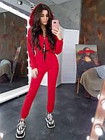 Комплект: Черный дутый жилет и красный комбинезон, фото 1