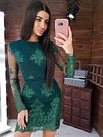 Зеленое ажурное платье по фигуре, фото 1