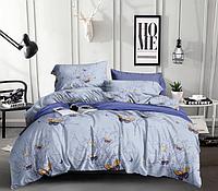 Сатиновое двуспальное постельное белье 180х220 (13630) хлопок 100% KRISPOL Украина