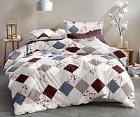 Сатиновое двуспальное постельное белье 180х220 (13636) хлопок 100% KRISPOL Украина