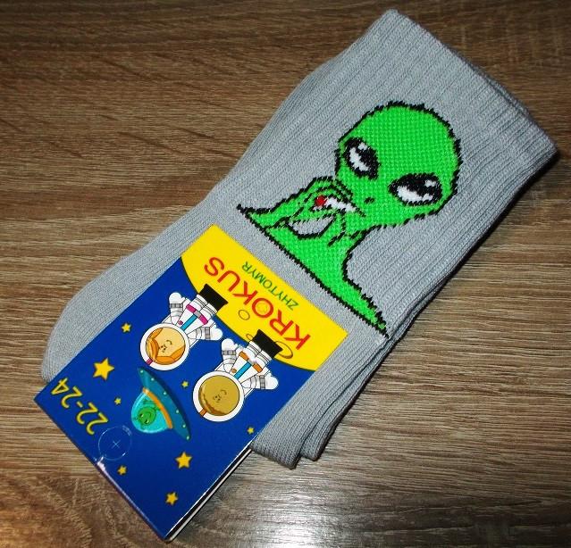 Носки с приколами серые инопланетянин размер 22-24