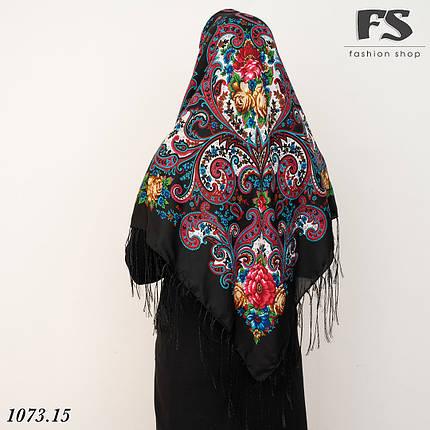 Павлопосадский черный платок  Царский, фото 2