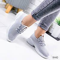 Женские легкие дышащие текстильные кроссовки сетка серые+белые, фото 1