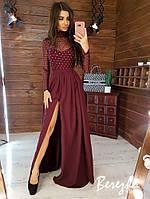 Платье макси с разрезом Размер: S и М Ткань: сетка с блестками и костюмка, фото 1