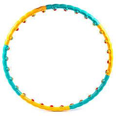 Обруч разборной, массажный, шарики, желто/зеленый, D=92/100cm, вес 1.1кг