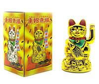 Кошка с машущей лапой, Манэки-Неко, цвет Золотой (11,5*7*7см) с батарейкой