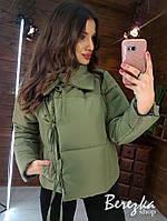 Тёплая курточка женская с завязками Размер: S/M и М/L Ткань: плащевка, силикон 300, подкладка, фото 1