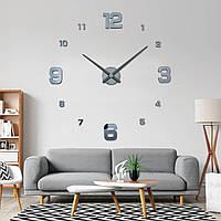 Часы настенные круглые большие 3D 4205, Темно-серые